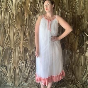Vintage 50's Nightgown Red Gingham Picnic Dress